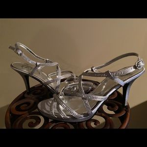 I. Miller Silver Sparkle Strappy Shoes Size 7.5